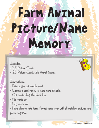 Farm Animal Memory (Match Picture to Picture with Name)