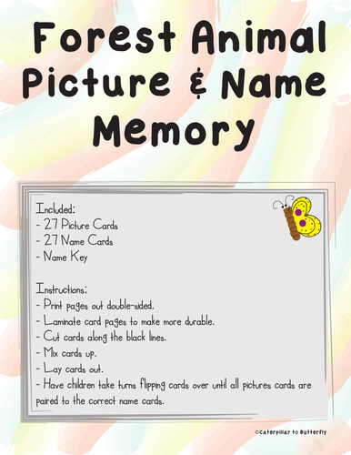 Forest Animal Picture and Name Memory