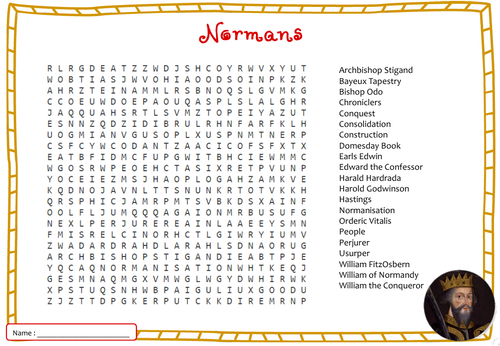 Normans Word Search - GCSE History AQA Keywords