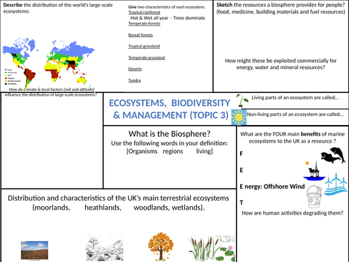 EDEXCEL GCSE (9-1) Geography A: Ecosystems, Biodiversity & Management - Topic 3 Revision Sheets