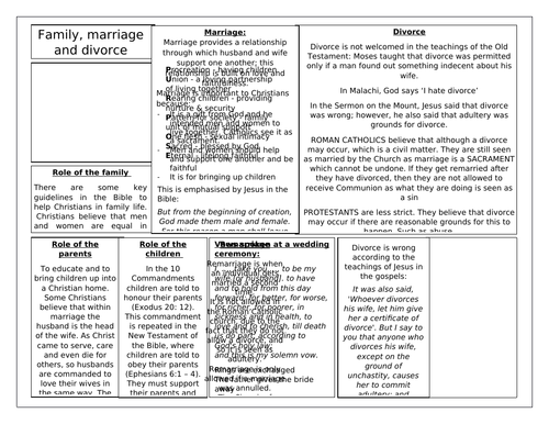 AQA RS GCSE REVISION THEME A  INFORMATION SHEET