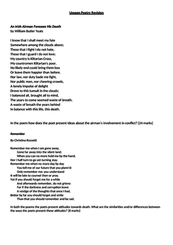 Unseen Poetry Revision Lesson AQA Literature Paper 2