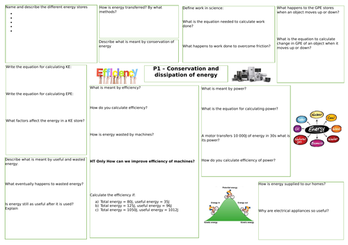AQA Conservation and dissipation of energy revision mat