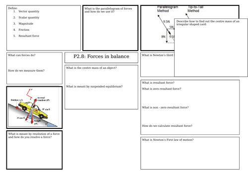 AQA Forces in balance revision mat