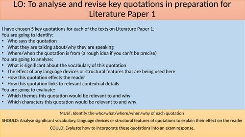 AQA GCSE Literature Paper 1 Revision - Quotation Challenge