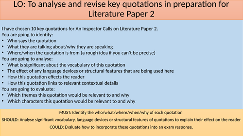 An Inspector Calls Quotation Challenge - Revision Lesson