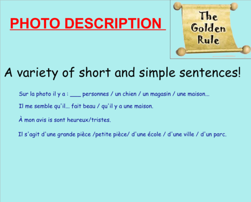 WARM UP lesson for the GCSE Writing exam for Smartboard.