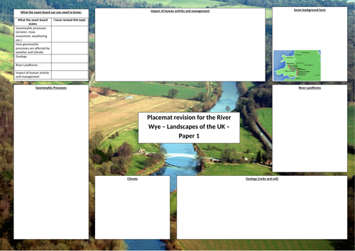 OCR A GCSE Geography River Wye Case Study  Revision