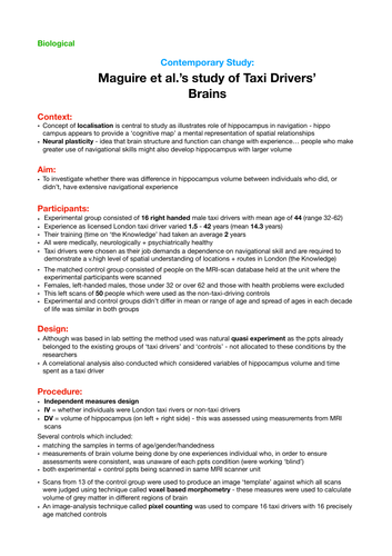 Psychology A Level: Revision notes +evaluation of Maguire's Study of Taxi Drivers' Brains-biological