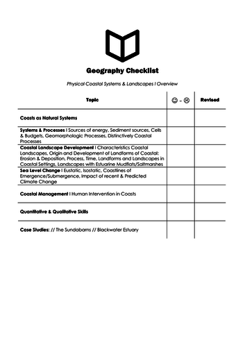 A Level Geography I Chapter 3: Coastal Systems Checklist
