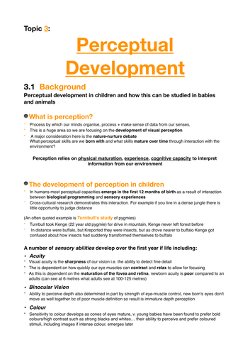Psychology A2: Revision notes for Perceptual Development topic in Child Psychology