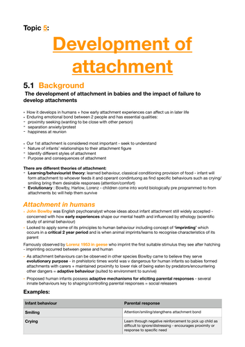 Psychology A2: Revision notes for Development of Attachment topic in Child Psychology