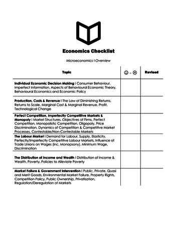 A Level Economics I Microeconomic Checklist