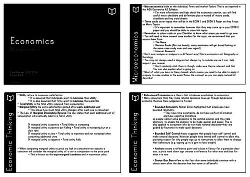 A Level Economics I Microeconomics Revision Cards
