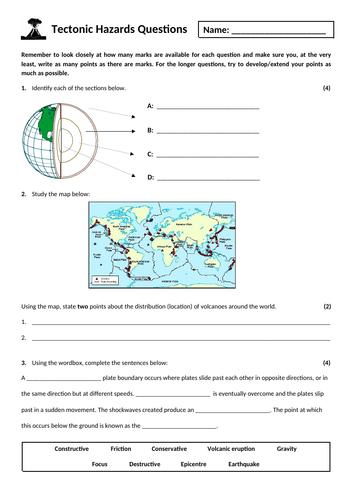 1. Tectonic hazards exam questions homework