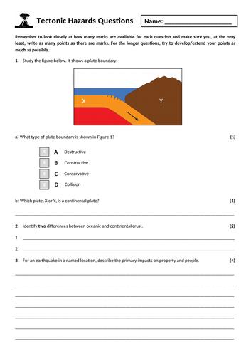 2. Tectonic hazards exam questions homework