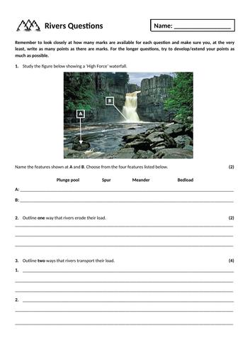 16. River landscapes exam questions homework