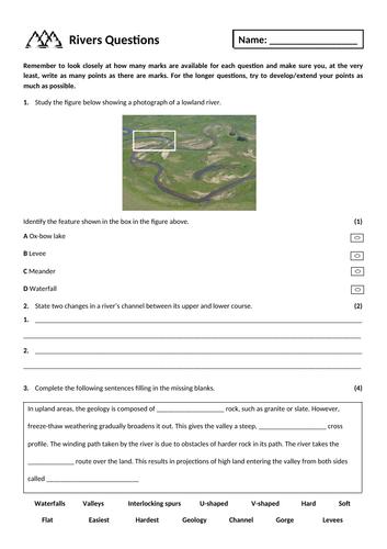 17. River landscapes exam questions homework