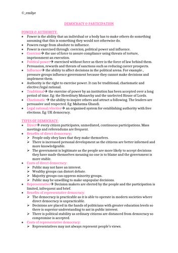 Democracy & Participation -Edexcel Politics A-Level  9PL0