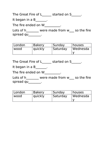 Comprehension task for the Great Fire of London Year 1