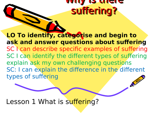 Religious Studies RE Year 8 or 9 Suffering & Buddhism & Christianity