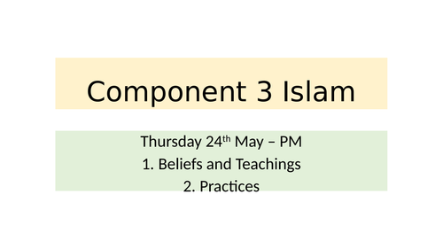 Eduqas GCSE Islam (Component 3) Revision - 16 Exam Questions with Mark scheme