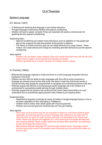 Child Language Acquisition (CLA) Notes - English Language A-Level