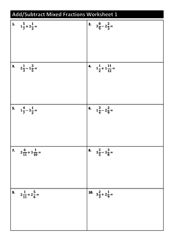 50 Addsubtract Mixed Fraction Worksheets By 0105301g Teaching
