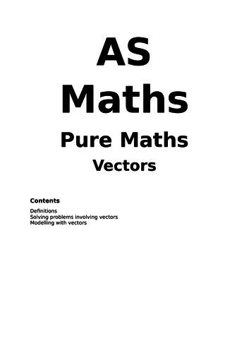 Maths A Level New Spec Vectors Notes and Examples (Year 1)