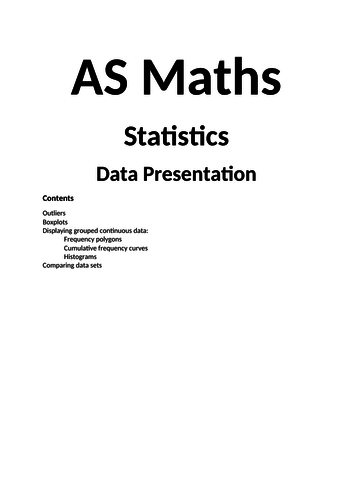 Maths A Level New Spec Statistics Year 1 Notes and Examples
