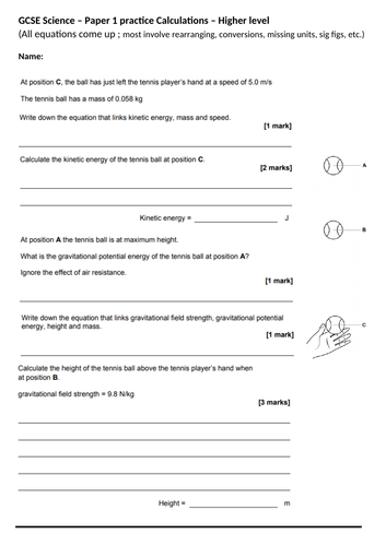 GCSE Science/Physics paper 1 calculation practice - Higher & Foundation (topic 1-4) [AQA] + answers