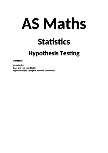 Maths A Level New Spec Hypothesis Testing Notes and Examples (Year 1)