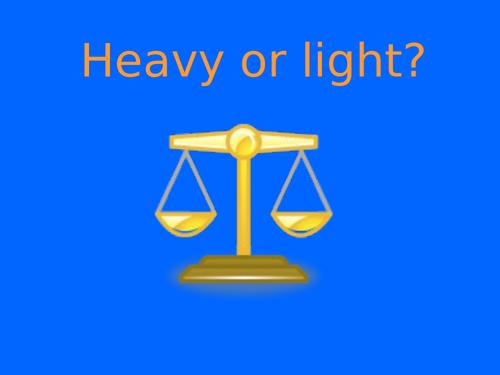 Heavy or Light Reception Maths slides