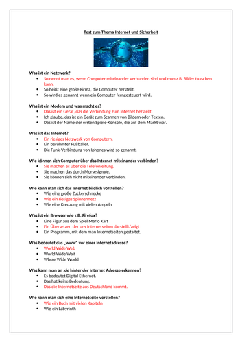 Internet und Sicherheit / Interney and Safety / Quiz