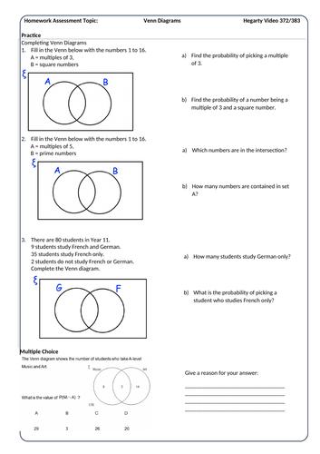Venn Diagrams Homework Sheet With Answers Teaching Resources