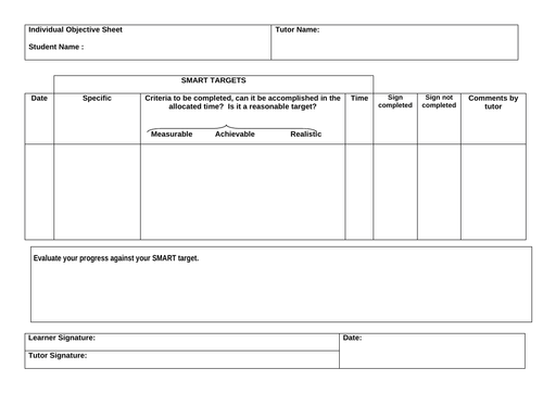 Setting SMART targets for Assignment workshops