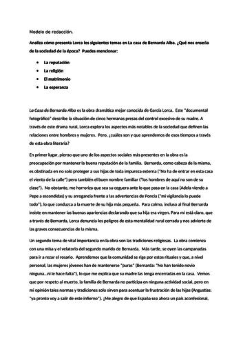 La Casa de Bernarda Alba: two model essays