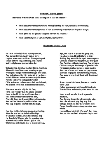 Two World War One Poetry Assessments- unseen poetry question & comparison