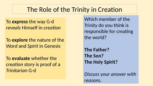 Eduqas Religious Studies Component 2 (Christianity) - Lesson 6 Trinity in Creation