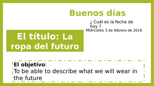 KS3 - KS4 Spanish La moda - La ropa del futuro - Clothes future tense