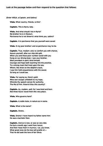 Passage based question Twelfth Night