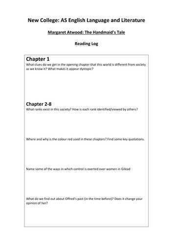 The Handmaid's Tale (Atwood) guided reading log