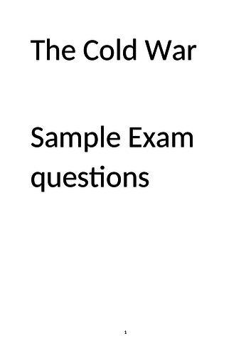 Sample questions for AQA GCSE East and West, 1945-72 by