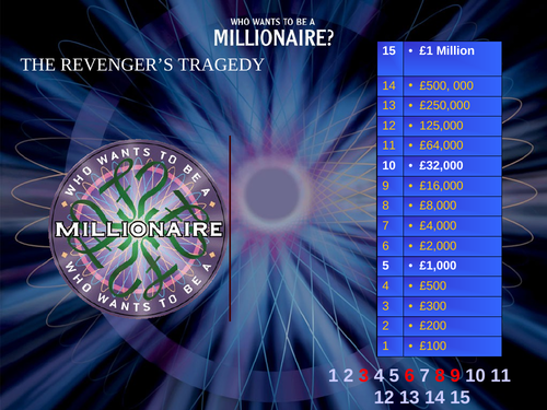 The Revenger's Tragedy (Middleton) - revision quiz using 'Who wants to be a millionaire'