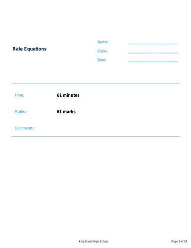 A Level Chemistry Kinetics and Rate Equations