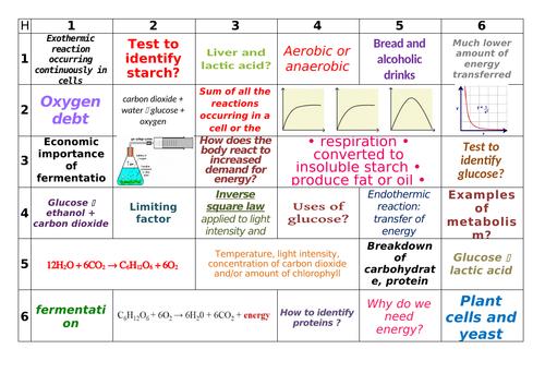 AQA GCSE Biology Bioenergetics Learning Grid