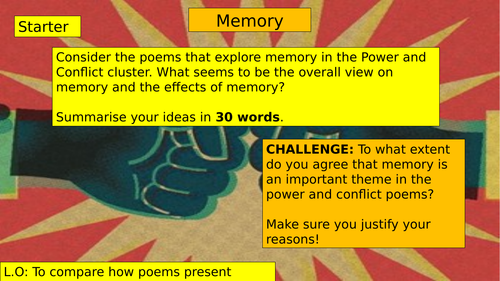 AQA POWER AND CONFLICT POETRY: MEMORY