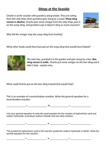 Ks3 Neutralisation Worksheet Bee Wasp Stings By Darawetton