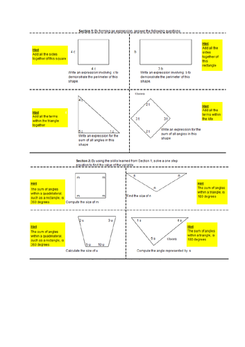 Forming equations using algebra within a shape
