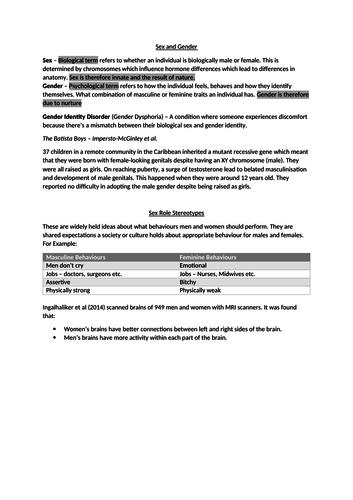 Gender Revision Guide- AQA A2 Psychology